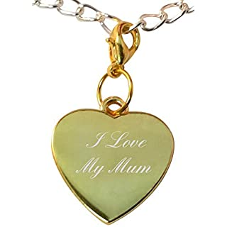Luxury Engraved Gifts UK Clip on I Love My Mum heart bracelet charm, compatible with thomas sabo - ref-gch