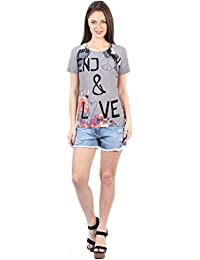 IRALZO Grey printed T-shirt