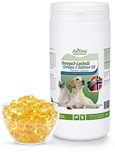 AniForte Omega 3- Lachsöl Kapseln 1000 Stück - Natur Pur für Hunde und Katzen, Stoffwechsel optimieren, Wertvoll für Knochenaufbau, Konstitution, gläzendes Fell, Optimale & Sinnvolle Ergänzung