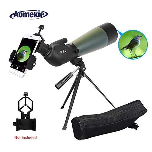 Aomekie Spektiv Sportschützen Jagd 20-60x80 Fernrohr Teleskop mit Stativ und Tasche Wasserdicht 45 Grad abgewinkelt Okular für Vogelbeobachtung Himmelsbeobachtung