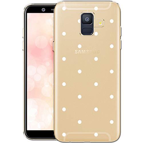 OOH!COLOR Handyhülle kompatibel mit Samsung Galaxy A6 Hülle Silikon transparent Ultra dünn Schutzhülle durchsichtig Bumper Case für Samsung A6 2018 weiße Punkte (EINWEG)