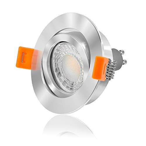Ledox® Led Einbaustrahler Set dimmbar & schwenkbar inkl. Forma RC Einbaurahmen chrom poliert 230V 7W GU10 3000K warm-weiß Deckeneinbauleuchte Decken-strahler-lampe-spot (3000K 10er Set) -