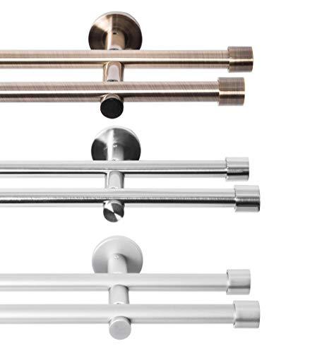 Rollmayer glänzend Metall Gardinenstange Ø 16mm Rohr, Edelstahl für Ösenvorhang, Gardinen (Crux 320cm lang, Edelstahl, 2-läufig) Einfache Montage modern Vorhangstange Ohne Ringe!