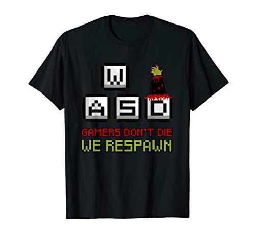 Gamers Don't Die We Respawn WASD Halloween Zombie Hand T-Shirt (2019 Halloween-party World Adventure)