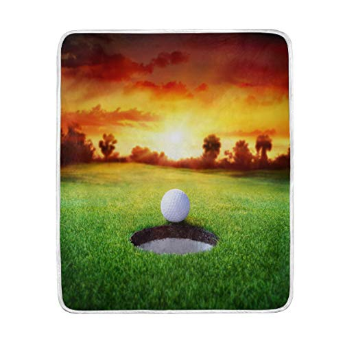 vinlin Decke für Golfbälle, Samt, weich, weich, warm, leicht, für Wohnzimmer, Outdoor, Reisen, 127 x 152 cm