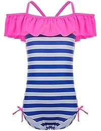 iiniim Kids Toddler Girls One Piece 3D Swan Flamingo Swimsuit Ruffle Bikini Swimwear Bathing Suit with Swim Cap