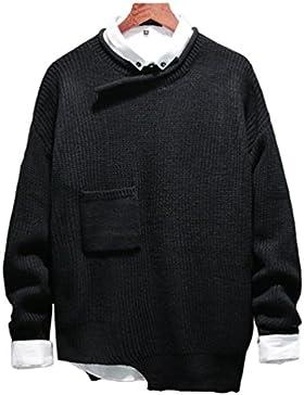 Yiiquan Hombre Cuello Redondo Pulóver Suéter Camisa de Punto Suelto Manga Larga Diseño Irregular