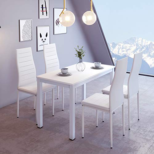 Padded Chairs 4 Table Table of 4 Table and 4 Wooden and Leather Dining Chairs White Dining White Set Chairs and Set White Faux Dining Kitchen Table l1cTJFK3