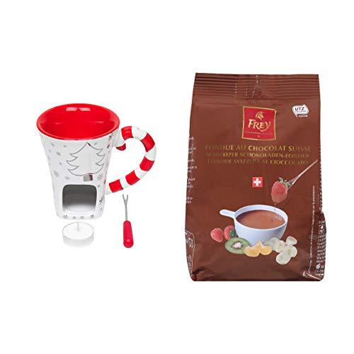 Schokofondue-Set Christmas - Hochwertiges 3-teiliges Set inkl. Tass und 1x Schokoladen-Fondue Nachfüllbeutel von Chocolat Frey aus der Schweiz- Ideal auch als Geschenk
