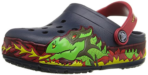 crocs CrocsLights Fire Dragon Clog, Jungen Clogs, Blau (Navy 410), 23/24 EU (C7 Jungen UK)