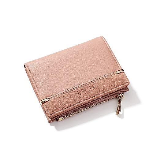 Damenbrieftasche mit Mehreren Karten, kurzer Reißverschluss (11,5 * 9 cm), 928010 Rosa