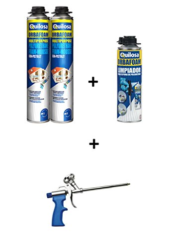 LOT de 2 Mousses expansives polyuréthane - Bombe de 750 ml pistolable + 1 pistolet + 1 nettoyant