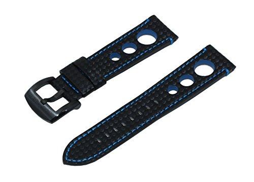 Cinturino da 20 mm stile rally nero con blu rilievo in fibra di carbonio e fibbia in acciaio inossidabile spazzolato nero
