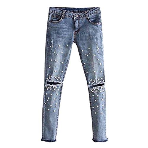 Juleya Damen Jeans Straight Jeanshose Bleistift Hose BF Stil Lowwaist Stretch Denim Hosen Frauen Niet Perle Jeanshosen Zerrissene Jeans Cowboy Blau 26 27 28 29 30 Perlen-hosen