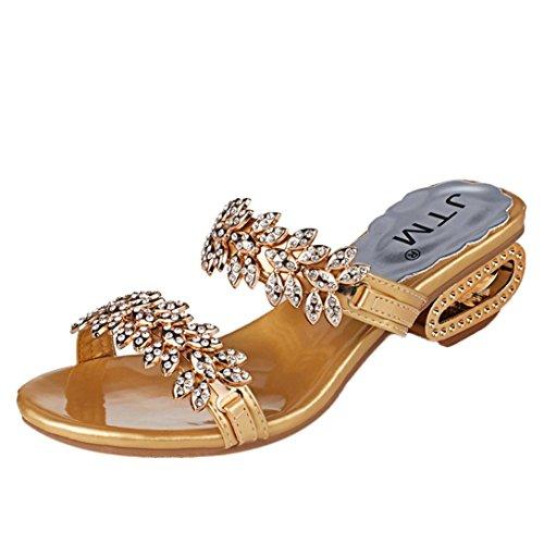 Sandales Femme Ete Ansenesna Femmes Strass Pantoufle Sexy Haut Talons Sandales Chaussures de FêTe en Cristal Tongs