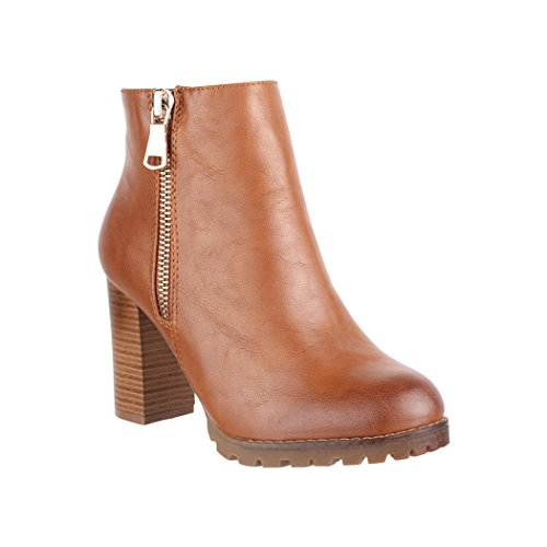 Elara Damen Stiefelette | Bequeme Ankle Boots | Chunkyrayan 2018 C223-Camel-36