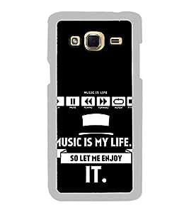 Fiobs Designer Back Case Cover for Samsung Galaxy J5 (6) 2016 :: Samsung Galaxy J5 2016 J510F :: Samsung Galaxy J5 2016 J510Fn J510G J510Y J510M :: Samsung Galaxy J5 Duos 2016 (Music Is Life Sangit Zindagi Blue Mobile Case Cover)