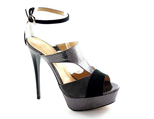 DIVINE FOLLIE A35358 pitone sandali donna tacco plateaux cavigliera Grigio