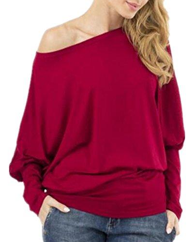 Aivosen Donna Taglie Forti Sciolto Maglietta Pipistrello Manica Girocollo Allentato Camicetta T-Shirt Top Casuale Per Le Donne Red