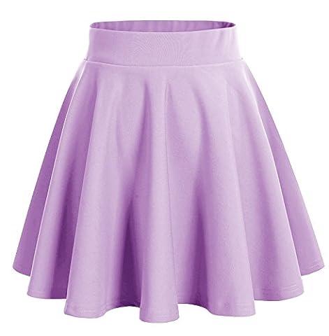 Dresstells Basic Solid Versatile Stretchy Flared Casual Mini Skirt Lavender M