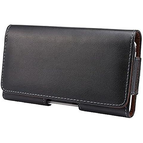 [widamin ™] Cinturón de cuero bolsas del teléfono iPhone 4,7, piel, negro, iphone6s horizontal