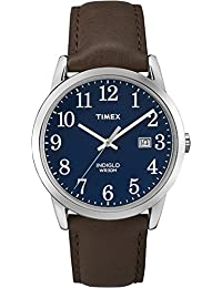 Timex Men's Quartz Watch with Blue Dial Analogue Display and Brown Leather Strap TW2P75900