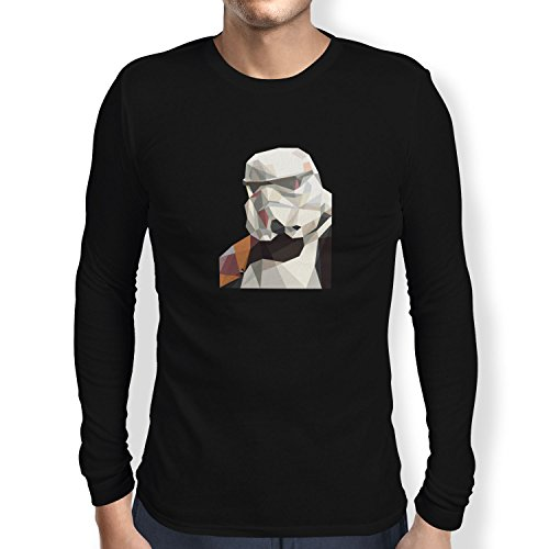 TEXLAB - Low Poly Trooper - Herren Langarm T-Shirt Schwarz