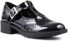 Girls Shoe Patent T-Bar Shoe in Black by Lilley