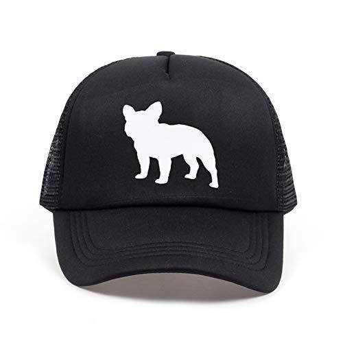 JKYJYJ Neue Französische Bulldogge Letters Print Baseball Cap Trucker Hut Für Frauen Männer Unisex Mesh Einstellbare Größe Schwarz Weiß (Für Trucker Frauen Hüte)