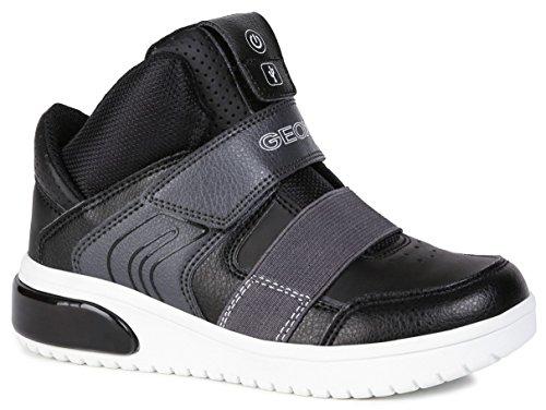 Geox Jungen High-Top Sneaker XLED Boy, Kinder Sneaker,LED Licht Text,Sportschuh,Mid Cut Sneaker,Klettverschluss,atmungsaktiv,SCHWARZ,36 EU / 3 UK - Größe Schuhe Mädchen High-tops Baby 3