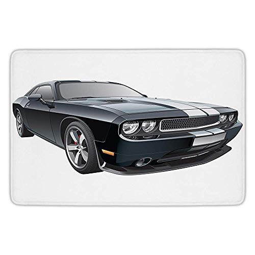 Royal Blue Coupe (Bathroom Bath Rug Kitchen Floor Mat Carpet,Cars,Black Modern Pony Car with White Racing Stripes Coupe Motorized Sport Dragster,Black Grey White,Flannel Microfiber Non-Slip Soft Absorbent)