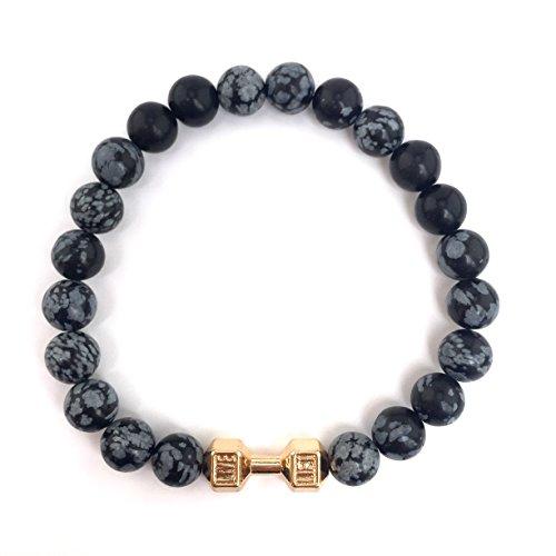 GOOD.designs Fitness Perlen-Armband aus grauen Schneeflocken-Obsidian Natursteinen, Hantel Anhänger in Gold - 3