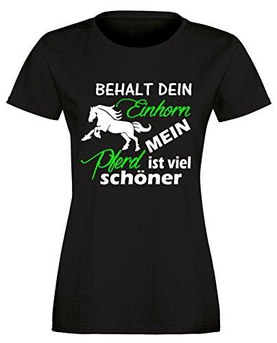 Behalt dein Einhorn mein Pferd ist viel schöner - Damen Rundhals T-Shirt Schwarz/Weiss-neongruen