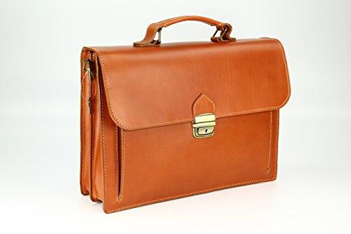 """BELLI """"Design Bag Tennessee"""" mittelgroße Echt Nappa Leder Businesstasche unisex - Farbauswahl - 37x27x12 cm (B x H x T) Cognac"""
