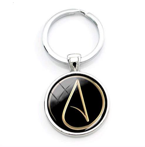 VAWAA Kreatives Design Herren Zubehör Atheist Atom Symbol Schlüsselanhänger Atheist Logo Schlüsselanhänger Atheismus Bewegung Männer Atom-design