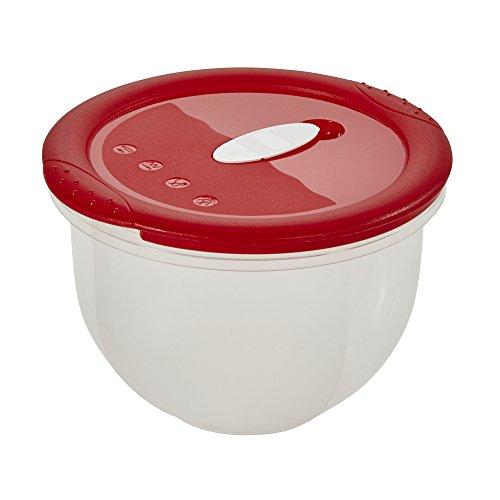 ok 2-in-1 Mikrowellen-/Tiefkühldose mit Mikrowellenventil, 0°C bis +100°C, Micro-Clip, 1,5 l, Ø 16,5 x 12 cm, Rot/Transparent