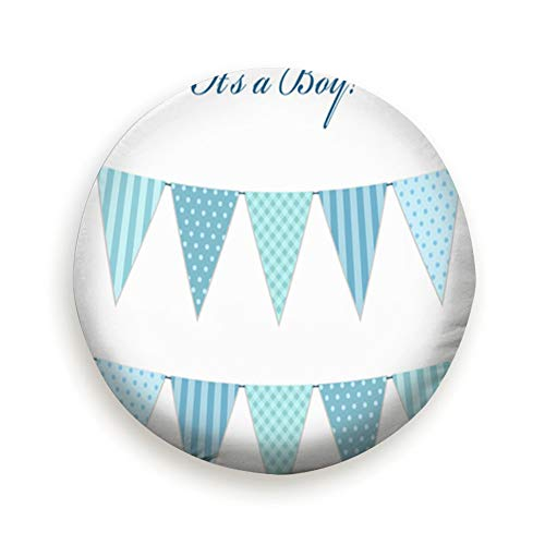 Bidetu Cute Vintage Textile Blue Shabby Chic Baby Spare Tire Cover Waterproof Dust-Proof for Jeep, Trailer, RV, SUV, Truck Wheel 14inch
