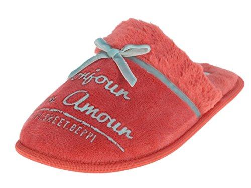Beppi 2135550 Damen Winter Hausschuhe Rosa-Rot