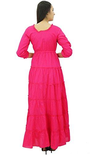 Bimba Manches 3/4 robe d'été en coton maxi cordon de la taille des femmes Magenta