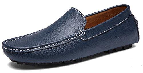 Joomra mocassins scarpe da uomo casual cuoio eleganti estivi nappine pelle senza lacci barca pantofola blu scuro 45