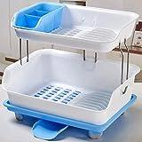 Doppelschichtige Küchen Regale, Schränke, Abfluss Regale, Geschirr Regale, Dicke Plastikgeschirr-Ablage Regale (44 * 32 * 36Cm),Blue