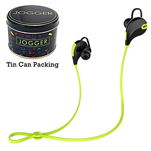 Jogger Original QY7 Professional Bluetooth 4.1 Wireless Stereo Sport Headphones Headset Running Hiking Exercise Sweat-Proof Jogger Hi-Fi Sound with Extra Bass Hands-Free Calling-Parrot Green