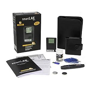 smartLAB mini Blutzuckermessgerät mmol/L Bundel | Blutmessung-Kombi-Set mit 100 Blutzuckerteststreifen & 100 Lanzetten | Blutzuckermesssystem im Scheckkartenformat Schwarz