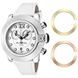 Glam Rock Unisex Quartz Watch With White Dial Analogue Display And Leather Strap 0.96.2229