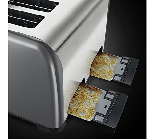 Brand New Russell Hobbs Oslo 4-Slice Grey 7 Toast Settings Toaster 23546