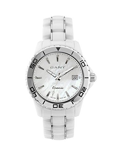Gant Floral Women's Quartz Watch with White Dial Analogue Display and White Ceramic Bracelet W70372