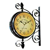 Clispeed Orologio da Parete Vintage Double Sided Iron Silent Quiet Grand Central Station Orologio da Parete Art Clock Decorativo Double Face Wall Clock da 360 Gradi Ruota Antique Wall Clock