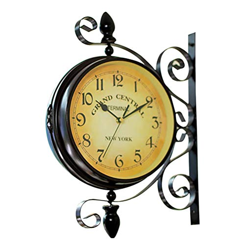 LIOOBO Vintage doppelseitige Wanduhr Eisen Metall Silent Quiet Grand Central Station Wanduhr Art Clock -