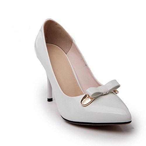 AgooLar Damen Stiletto Lackleder Rein Ziehen Auf Spitz Zehe Pumps Schuhe Weiß
