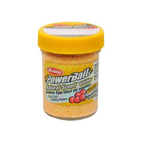 PowerBait Natural Glitter Forellenköder, Unisex-Erwachsene, 1203185, Salmon Peach, Jar -